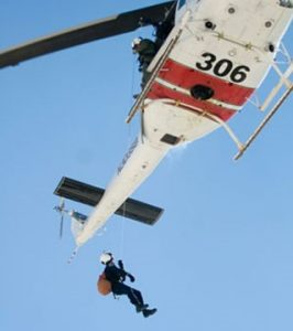 rescue team on helicopter