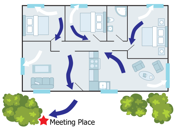 illustration of home escape plan with meeting place