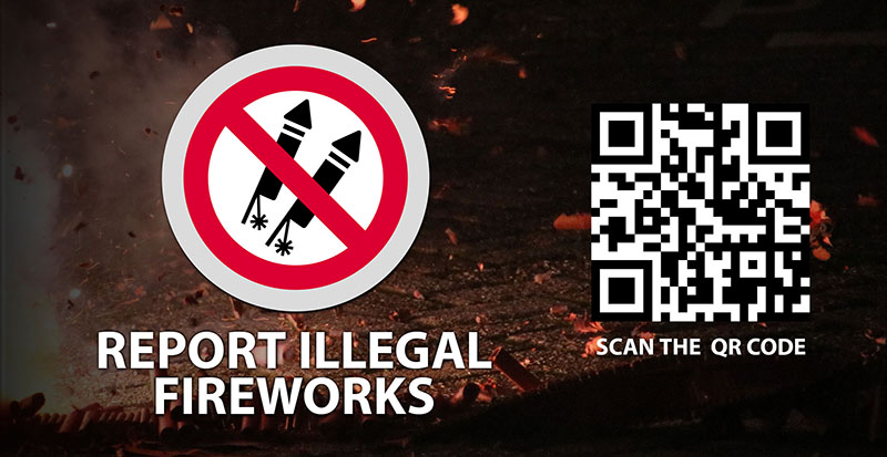 report illegal fireworks scan qr code