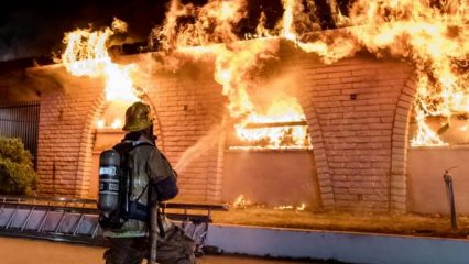 Crews Battle Commercial Fire At large Vacant San Bernardino Restaurant