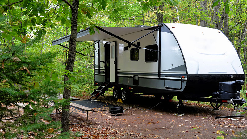 trailer on camp site