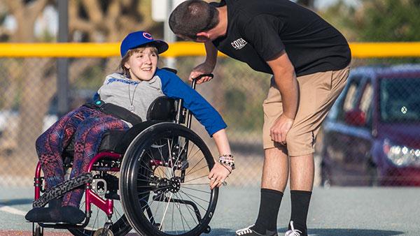 happy child on wheelchair