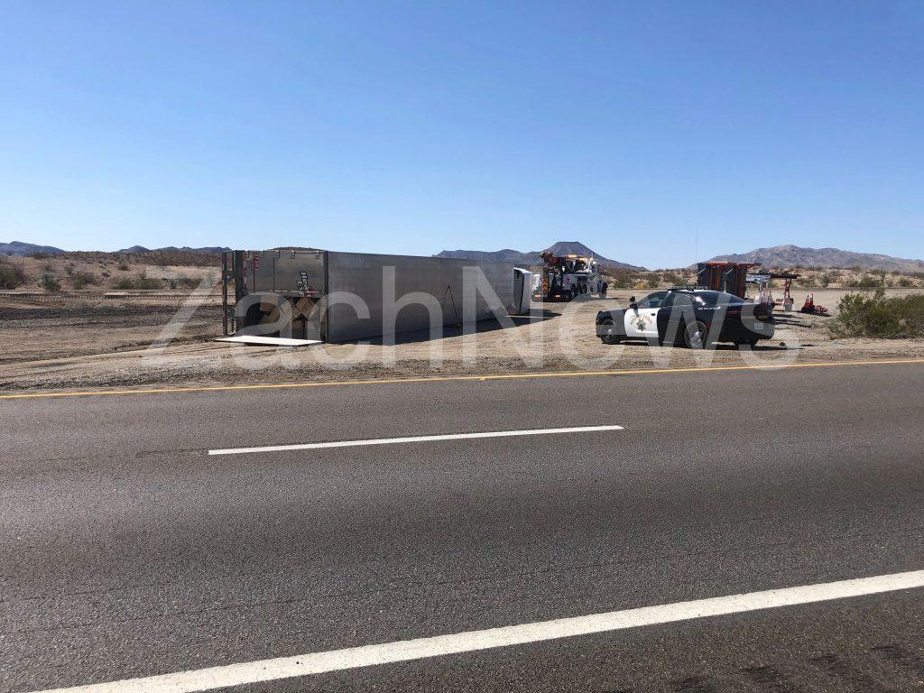 Breaking News: Klinefelter, CA: Overturned semi truck crash along westbound Interstate 40 just west of U.S. Route 95.
